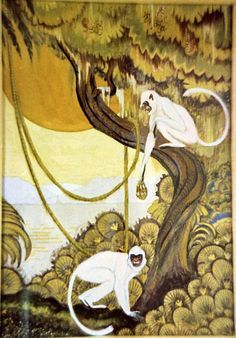 Art Deco Monkeys, Gouache Painting, Circa Late 1920's
