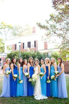 mismatch blue bridesmaids
