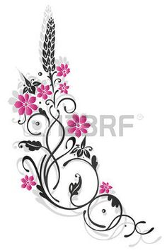 Abstract black and pink tendril with flowers and leaves photo