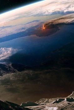 Nuestro Planeta Azul - Google+ Volcano, seen from space.