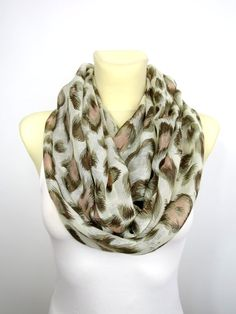 Leopard Infinity Scarf - Leopard Print Scarf - Brown Leopard Infinity Scarf - Women Fashion Accessories - Gift Ideas for Her - Spring Autumn