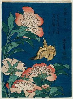 Katsushika Hokusai.  Peonies and Canary 1834