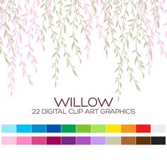 Willow Wedding Clipart for Personal & Commercial by coloryourway