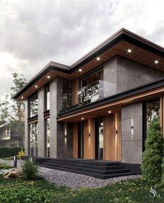 Modern House Facades, Modern Exterior House Designs, Dream House Exterior, Modern Architecture House, Exterior Design, Minimal House Design, Unique House Design, Home Building Design, Luxury Homes Dream Houses