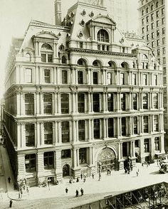 The Equitable Life Assurance Building was the headquarters of the The Equitable Life Assurance Society of the United States. Construction was completed on May 1, 1870 at 120 Broadway in New York City and under the leadership of Henry Baldwin Hyde was the first office building to feature passenger elevators. At a then-record 130 feet (40 m), it is considered by some the world's first skyscraper. The architects were Arthur Gilman and Edward H. Kendall.