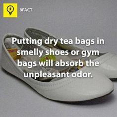 doe theezakjes in schoenen en de geur zal verdwijnen