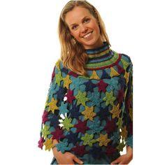 Stjerne poncho i økologisk uld - Køb garn og opskrift til stjerne poncho her
