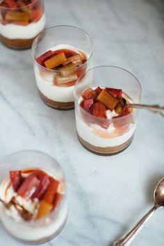 whipped yogurt cheesecake with roasted rhubarb (my name is yeh)