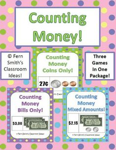 Fern's Freebie Friday ~ Counting Coins Center Game! Fern Smith's Classroom Ideas! $0