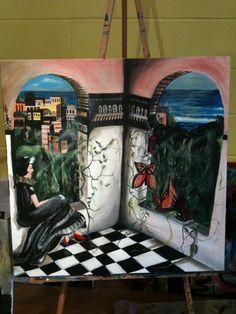 """Le Chateau des Papillons  Acrylic on canvas  24 x 24""""  2013"""