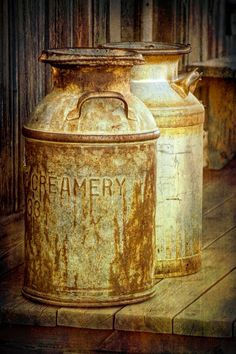 Old Vintage Creamery Milk Cans in Historical 1880 Town Western Museum in South Dakota - A Fine Art Still Life Photograph Vintage Milk Can, Antique Milk Can, Vintage Stuff, Old Milk Cans, Milk Jugs, Canvas Art, Canvas Prints, Rusty Metal, Old Farm
