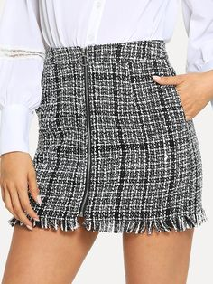 To find out about the Zip Front Frayed Tweed Skirt at SHEIN, part of our latest Skirts ready to shop online today! Plaid Mini Skirt, Plaid Skirts, Mini Skirts, Plaid Fabric, Blouse Dress, Skirt Outfits, Mannequin, Fashion News, Ootd Fashion
