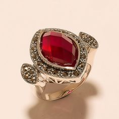 Burmese Red Ruby Gemstone 925 Sterling Silver Ring Women Cocktail Jewelry Gifts #Handmade #Cocktail #EasterGift