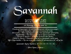 Savannah Name Meaning - First Name Creations