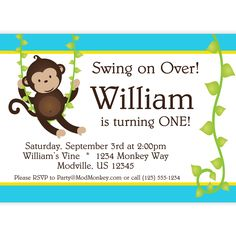 Mod Monkey Invitation - Blue and Yellow Stripes and Vine Boy Mod Monkey Personalized Birthday Party Invite - a Digital Printable File. $15.00, via Etsy.