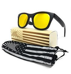 4e5c0a727 Patriot Shades Polarized and Floating Bamboo Wood American Flag Wayfarer  Sunglasses. Surfing Holidays