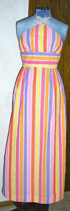 70s striped halter dress size small boho by ChloeandNatalieVtg, $49.00