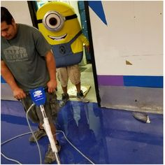 Fun fact: we hired Stuart the Minion! Here's a picture of his first day working at a local roller rink!