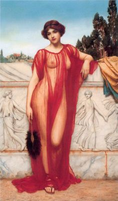 Fan play - Athenais by John William Godward, 1908.