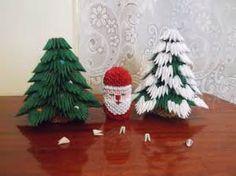 3D Origami Santa and Christmas Trees