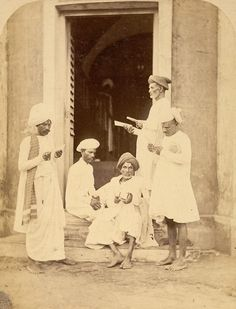 Bill collectors at Madras in Tamil Nadu, taken by Nicholas & Curths in c. 1870.