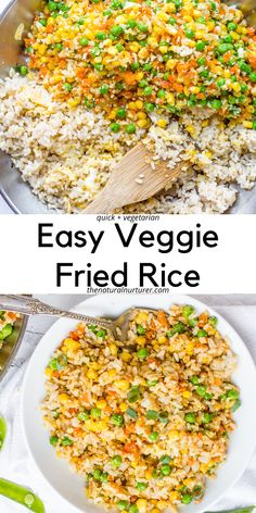 This recipe for easy veggie fried rice is loaded with a variety of healthy vegetables, tons of flavor, and is on the table in about 20 minutes! This is the perfect healthy vegetarian, easy, veggie-loaded side to any dinner! #veggieloaded #vegetarian Side Recipes, Veggie Recipes, Vegetarian Recipes, Healthy Recipes, Veggie Dishes, Healthy Kids, Healthy Food, Healthy Vegetables, Veggies