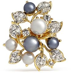 Kenneth Jay Lane Faux pearl crystal vine ring on shopstyle.com