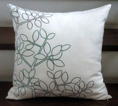 Green+Woods++Embroidered+Throw+Pillow+Cover++18+x+18+by+KainKain,+$23.00