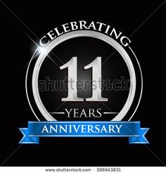 Celebrating 11 years anniversary logo. with silver ring and blue ribbon. - stock vector