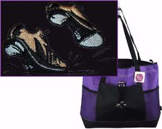Tap Shoes Gemline Zippered Tote Dance Bag + Name Monogram Custom Embroidered c98ad22dfd101