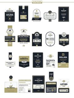 Premium coffee labels is another label template series from Rich Graphic. Honey Packaging, Dessert Packaging, Packaging Stickers, Bakery Packaging, Food Packaging Design, Coffee Packaging, Coffee Branding, Bottle Packaging, Packaging Design Inspiration