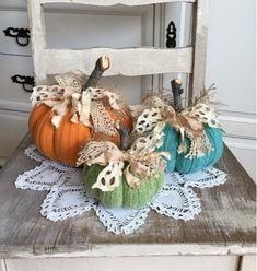 Sweater Pumpkins Set of 3 fabric pumpkins orange turquoise apple green fall decor shabby cottage chic farmhouse style Autumn Crafts, Thanksgiving Crafts, Holiday Crafts, Sweater Pumpkins, Fall Pumpkins, Fall Halloween, Halloween Crafts, Adornos Halloween, Fabric Pumpkins