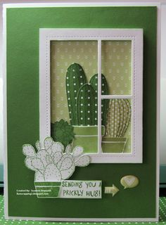 I Luv Scrapping Too: Sending You a Prickly Hug. Handmade card using CTMH Stuck on You & Cotton Candy, Sweet Leaf, Topiary, Glacier and White Daisy Quilling, Window Cards, Paper Artwork, Marianne Design, Get Well Cards, Heart Cards, Cards For Friends, Cool Cards, Flower Cards
