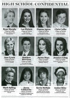 The Glee cast in High School! #LeaMichele #DiannaAgron #ChrisColfer