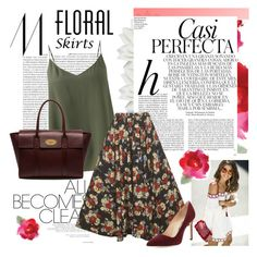 Floral Skirt by twinklepink on Polyvore featuring polyvore, fashion, style, Jigsaw, Manolo Blahnik, Mulberry, Monki, Whiteley, clothing and Floralskirts