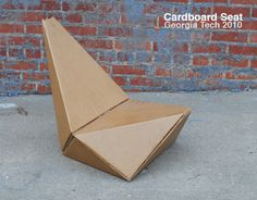 Cardboard chair competition winner Cardboard Chair AIA designed by Gourab Kar, cardboard Seat gives a new meaning. The chair takes the form of origami folding method. Cardboard Chair, Cardboard Design, Cardboard Paper, Cardboard Furniture, Cardboard Crafts, Cool Furniture, Furniture Design, Paper Crafts, Origami Chair