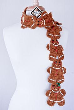 Gingerbread Scarf- Christmas Scarf- Crochet Scarf-Cookie Scarf-Food Scarf-Gingerbread Cookies-Women Scarf-Gifts on Etsy, Sold