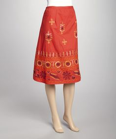 Take a look at this Red Embroidered Skirt by Papillon Imports on #zulily today!