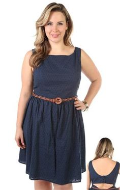 plus size fit and flare dress with embroidered eyelet fabric and belt