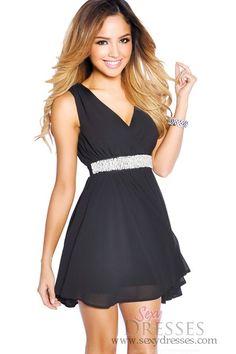 Black+Classic+'Audrey'+Embellished+Chiffon+Date+Night+Dress