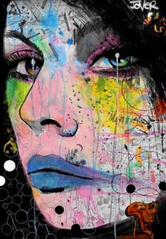 """Loui Jover; """"memories and ghosts"""", mixed medium. Dimensions and year created unknown.  I really love the graffiti-like style this artist has created, through the use of bright colors and abstract markings to create depth and detail in the facial features. This is juxtaposed with the very rigid, straight-edged lines made in black to outline the woman's face."""