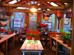 Needs stainless sink & counter at the back. I love the large grow light over the white potting table. Greenhouse Interiors, Greenhouse Gardening, Greenhouse Ideas, Small Greenhouse, Window Greenhouse, Gardening Tips, Love Garden, Home And Garden, Backyard Cottage