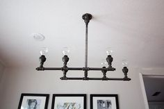 Looking to get the industrial look for less? A perfect complement to a rustic farm table, Camilla of Something Is Done created this cool chandelier made from pipes. See how she did it: