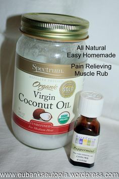 All Natural Pain Relieving Muscle Rub--I've used this oil for everything else, why not! --- Visit the following link for more info: http://coconutoilsecret.actchangetransform.com --- #coconutoilsecret #coconutoil