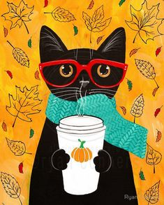 Pumpkin Coffee - Autumn Cat Folk Art Print 8x10, 11x14 by KilkennyCatArt on Etsy https://www.etsy.com/listing/251462426/pumpkin-coffee-autumn-cat-folk-art-print