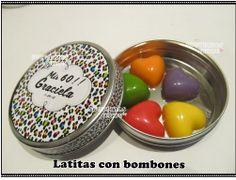 Souvenirs Personalizados, latas personalizadas. Latas con chocolates. Souvenirs 15 años. chiru.souvenirs@hotmail.com