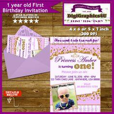 Princess First Birthday One Year Old Baby Girl by DigiGraphics4u #first #birthday #one #year #old #invitation #princess @etsy