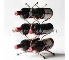Counter top art wine display stands for 6 bottles WD-016