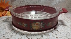 Vintage Red Tolle Painted Pie Plate Stand by RetroMetroVintage