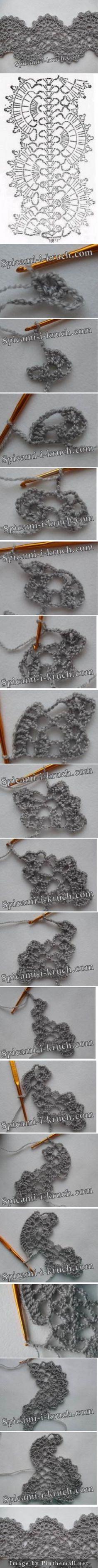Crochet lace tape shells & scallops Every step included ~~~ Source: http://spicami-i-kruch.com/sharfik-iz-lentochnogo-kruzheva/